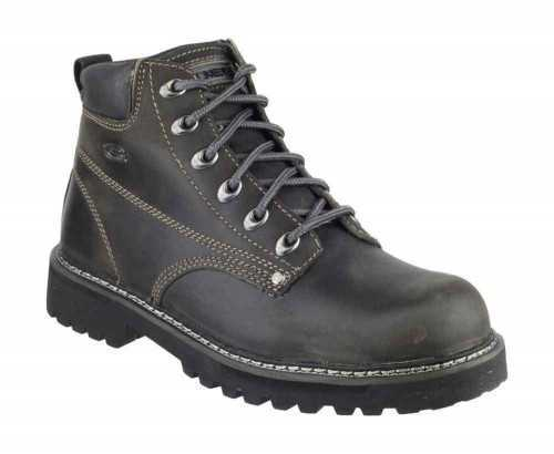 SKECHERS SK4479 LEATHER LACE UP CASUAL BOOT CHARCOAL